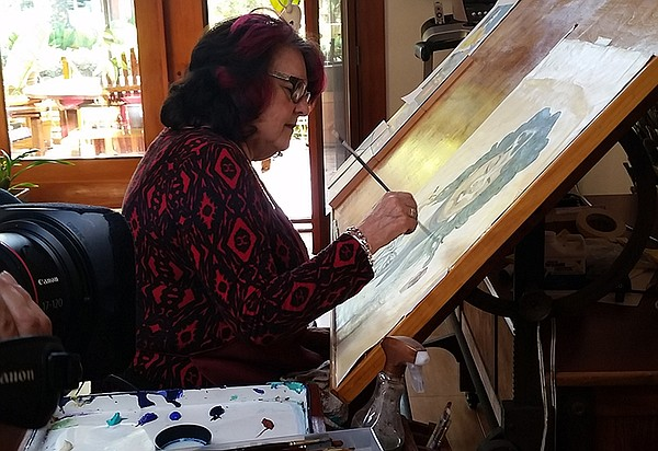 Artist and muralist Judy Baca in her studio.