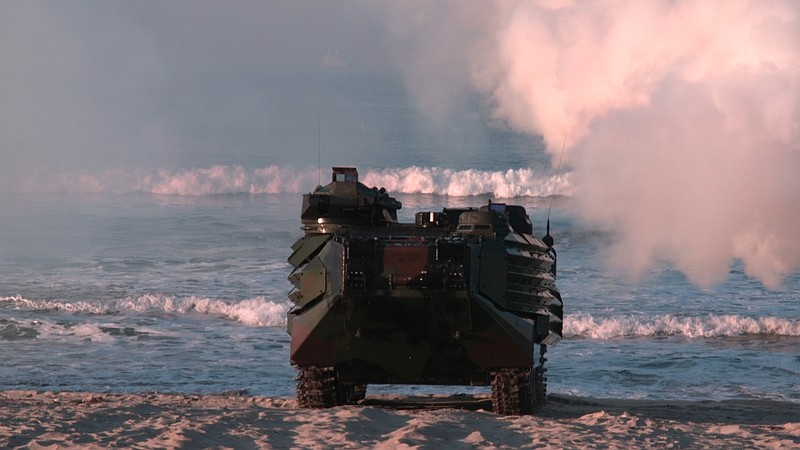 A Marine Amphibious Assault Vehicle comes ashore during exercise, Oct. 27, 2017.