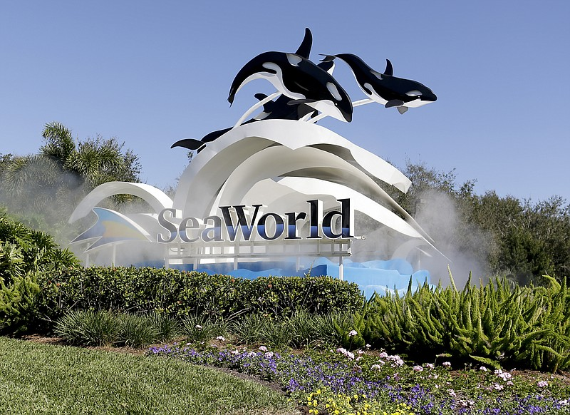The entrance to Sea World is seen, in Orlando, Fla. SeaWorld, Jan. 31, 2017.