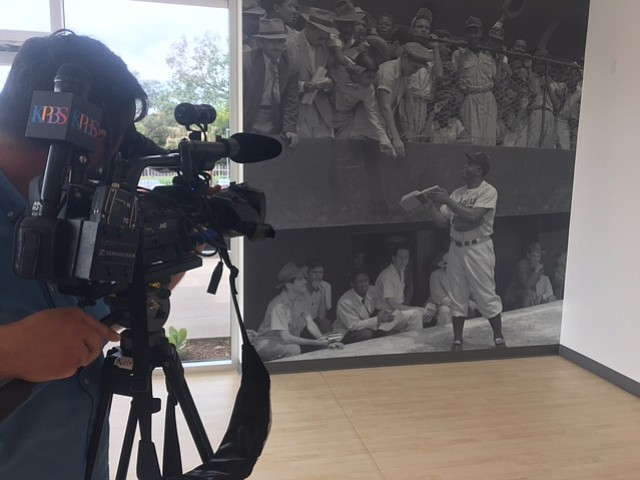 A wall with images of Jackie Robinson at the Jackie Robinson Family YMCA in s...