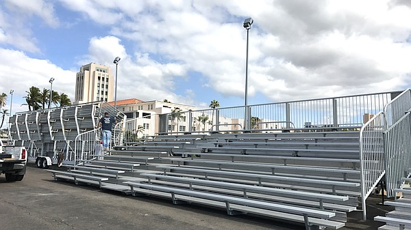 Grandstand bleachers sit on Harbor Drive near Waterfront ...
