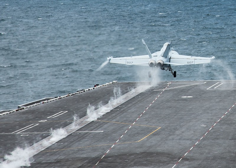An E/A-18G launches from USS Carl Vinson (CVN 70), July 31, 2017.