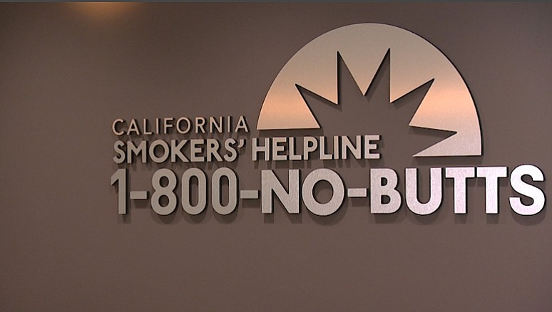 The logo for the California Smokers' Helpline is shown on Nov. 16, 2017.