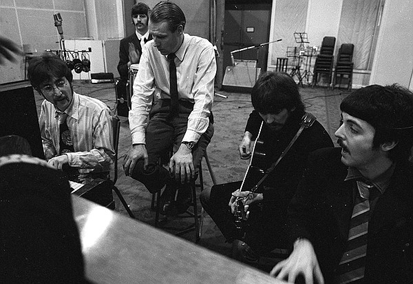 The Beatles at Abbey Road Studios in London, England, wit...