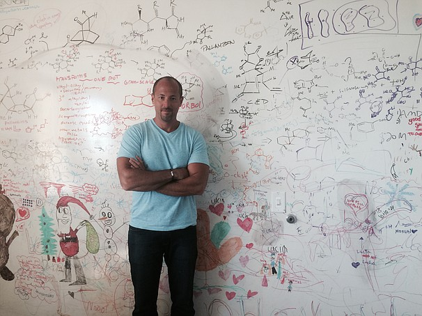 Philip Baran in front of the whiteboard in his office at Scripps. His daughte...
