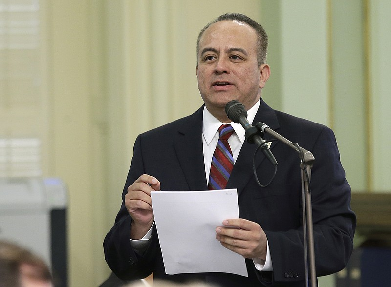 Assemblyman Raul Bocanegra, D-Pacoima, speaks at the Capitol, in Sacramento, ...