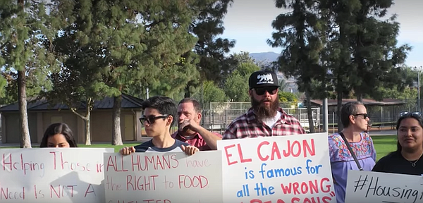 Demonstrators protest El Cajon's city ordinance banning p...