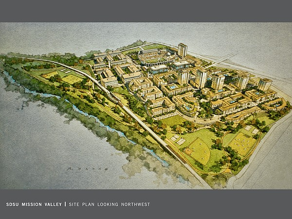 A rendering of the SDSU West plan to redevelop SDCCU Stadium is shown in this...