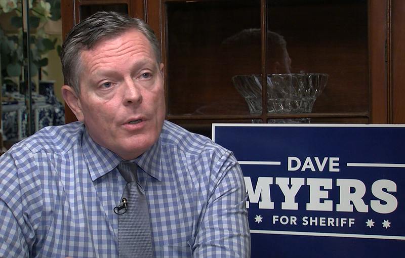 Sheriff Candidate Dave Myers in his home, Nov. 29, 2017.