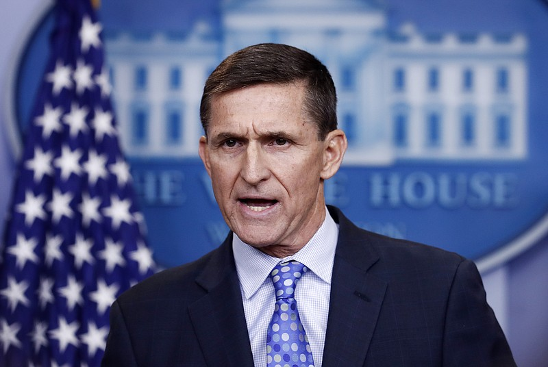 National Security Adviser Michael Flynn speaks during the daily news briefing...