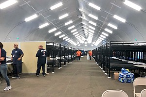 First Of Three Temporary Homeless Shelters Opens In Downtown San Diego
