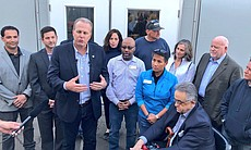San Diego Mayor Kevin Faulconer, San Diego Housing Commission President and C...