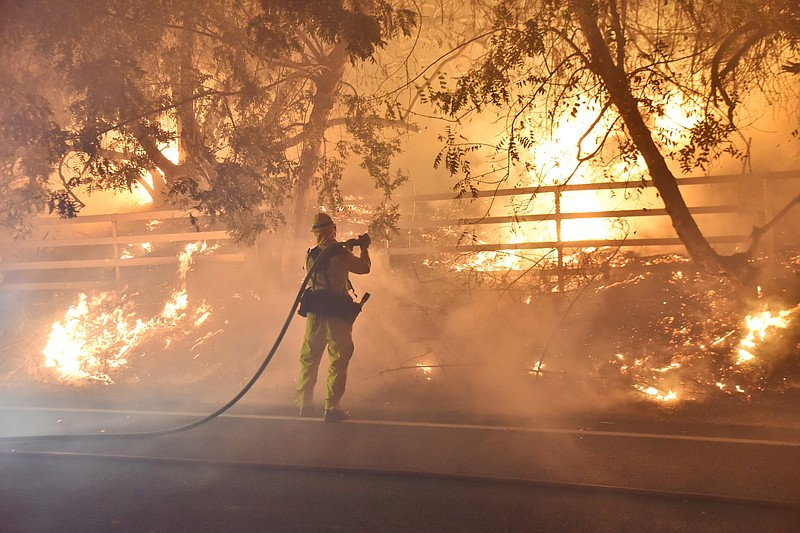 In this photo provided by the Ventura County Fire Department, a firefighter w...