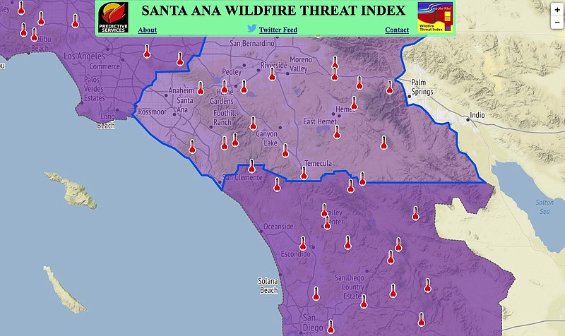 Santa Ana Fire Map.Extreme Fire Warning Issued For Thursday In San Diego County Kpbs