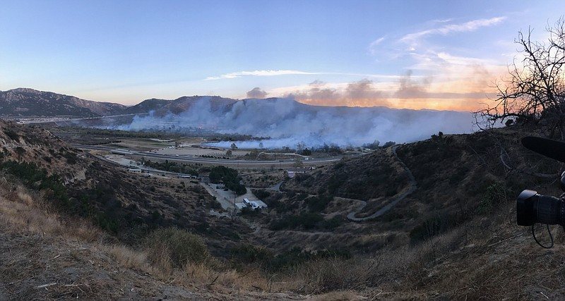 Smoke rises from the Lilac Fire in the Bonsall-Fallbrook area, Dec. 7, 2017.