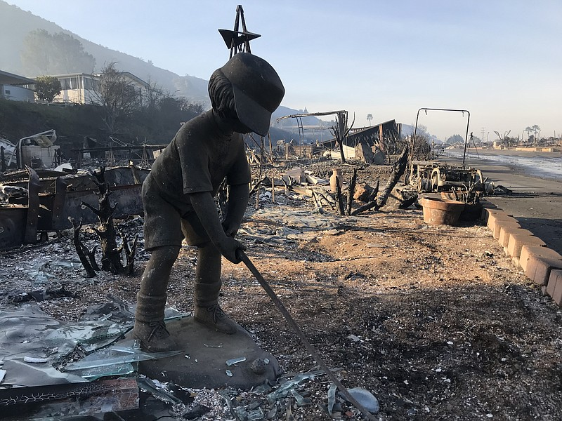 A burned down home at Rancho Monserate Country Club off U.S. Route 395 is sho...