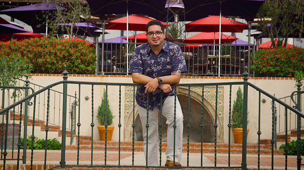 "Jordan Jacobo stops in Balboa Park to ""enjoy"" the many quirks of having an ai..."