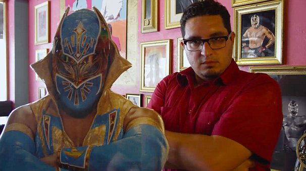 Jordan Jacobo sidles up to a Luchador at famed San Diego Taco Shop, Luche Lib...