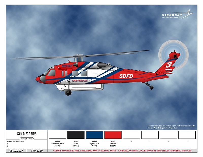 A digital rendering of the S-70i version of the Firehawk.