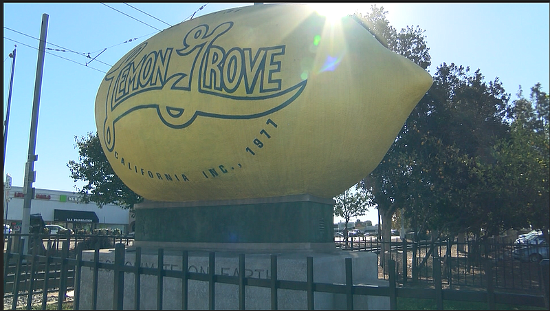 The city of Lemon Grove's Giant Lemon sits on Main St, in Lemon Grove, Dec. 2...