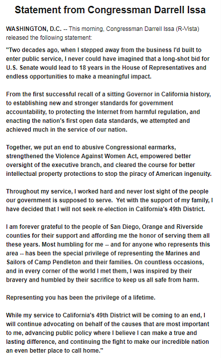 A statement from Rep. Darrel Issa, R-Vista, announcing his retirement is show...