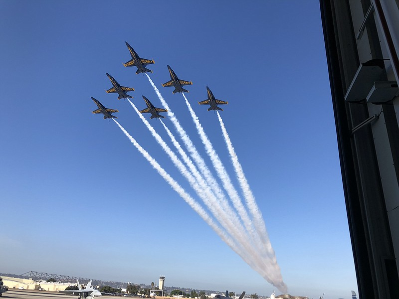 The Blue Angels fly over Naval Air Station North Island during a change of co...