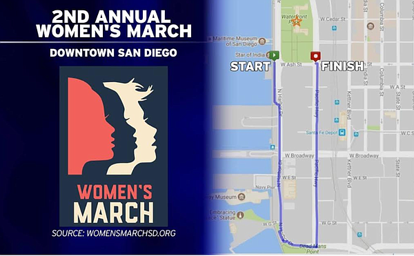 This graphic shows the Women's March San Diego poster and...