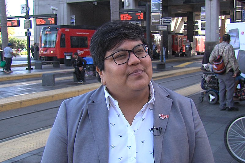 San Diego City Councilwoman Georgette Gomez stands in front of the 12th and I...