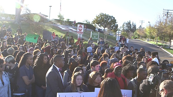 Students walk out in protest at Helix High School followi...