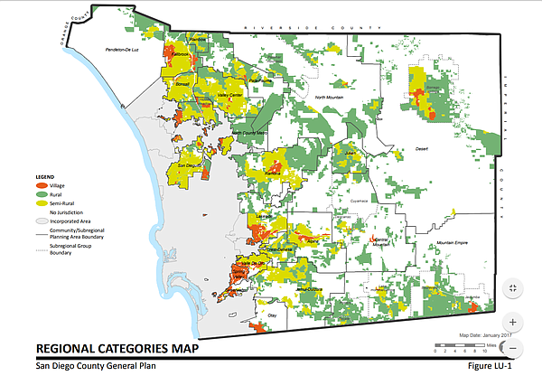 San Diego County's General Plan Land Use Map, 2011