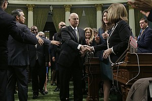 Photo for Governor Boosts California, Warns Of Threats In Address
