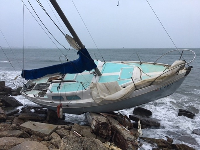 One of several vessels washed ashore on Naval Base Coronado from Zuniga Point...