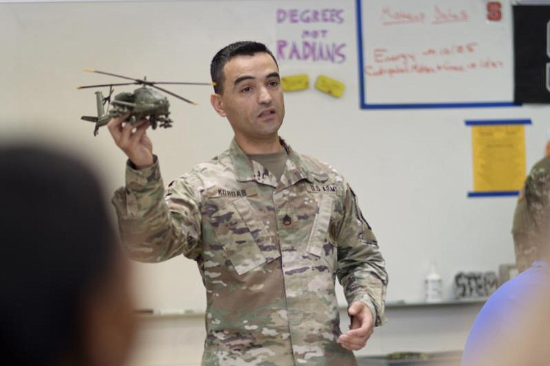Army Staff Sgt. Bilal Kordab talks about military careers with students at At...
