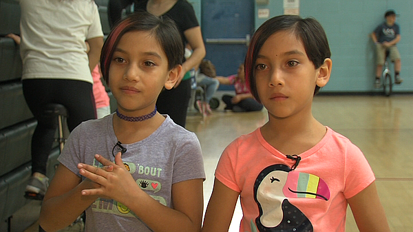 Twin seven-year-olds Brianna and Abigail Castellanos at t...