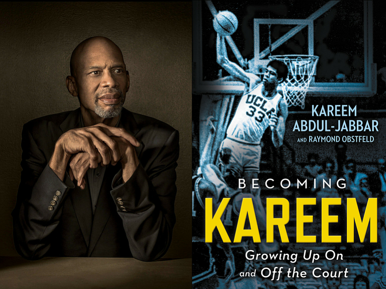 Basketball legend and author Kareem Abdul-Jabbar next to a cover of his memoi...