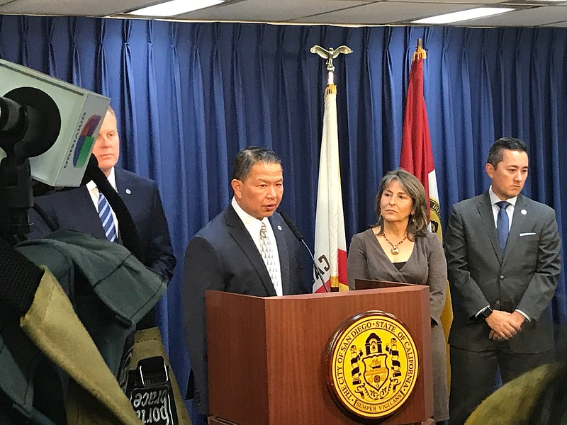 Vic Bianes, San Diego Public Utilities Director, speaks at a news conference ...