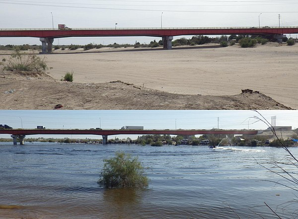 Above: Days before the 2014 pulse flow, the Colorado Rive...