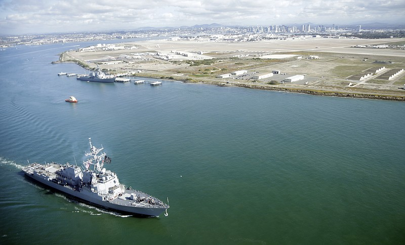 The guided-missile destroyer USS Stockdale leaves Naval Base Coronado in Coro...