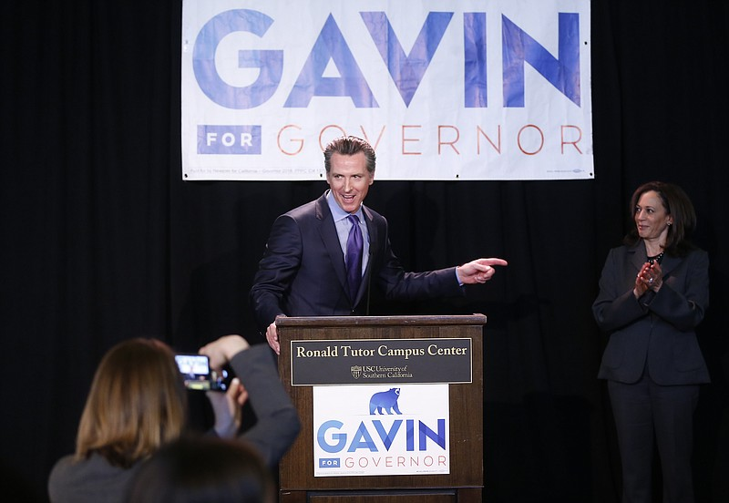 Sen. Kamala Harris, right, endorses California Lt. Gov. Gavin Newsom, left, f...