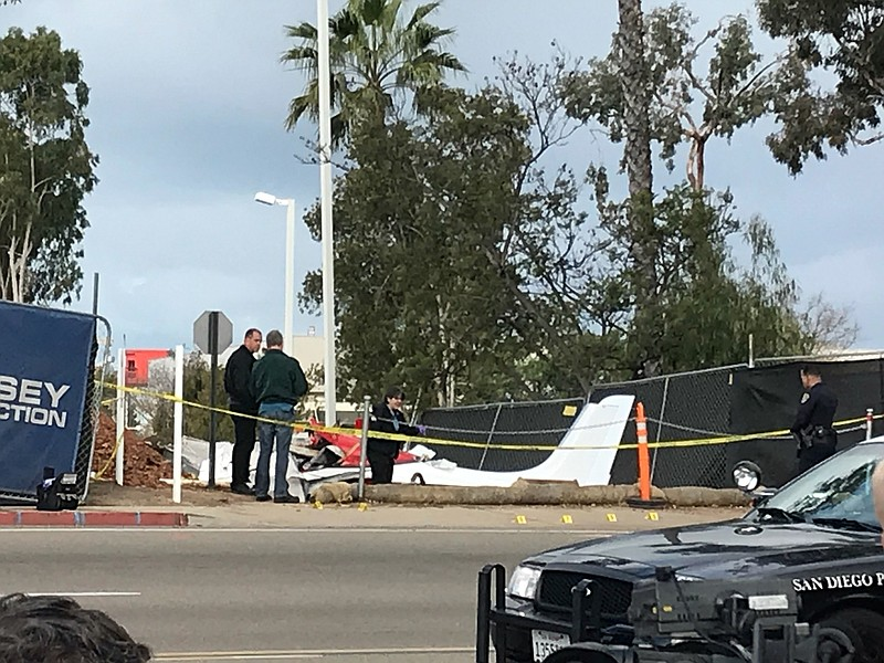 A small aircraft that crashed in Kearny Mesa is shown, Feb. 21, 2018.