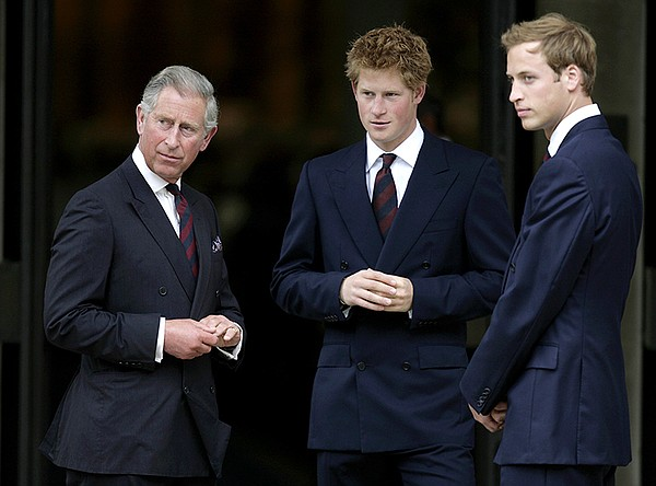 Princes Charles, Harry and William.