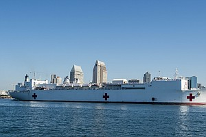 USNS Mercy Hospital Sails From San Diego For Internationa...