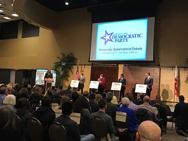 Democratic candidates running for California governor debate on stage, Feb. 2...