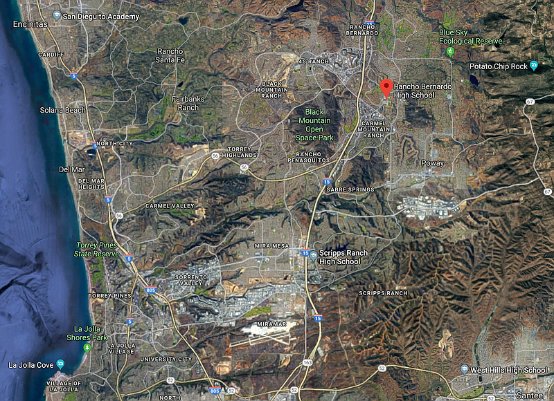 A map showing Rancho Bernardo High School is shown in this image, Feb. 26, 20...