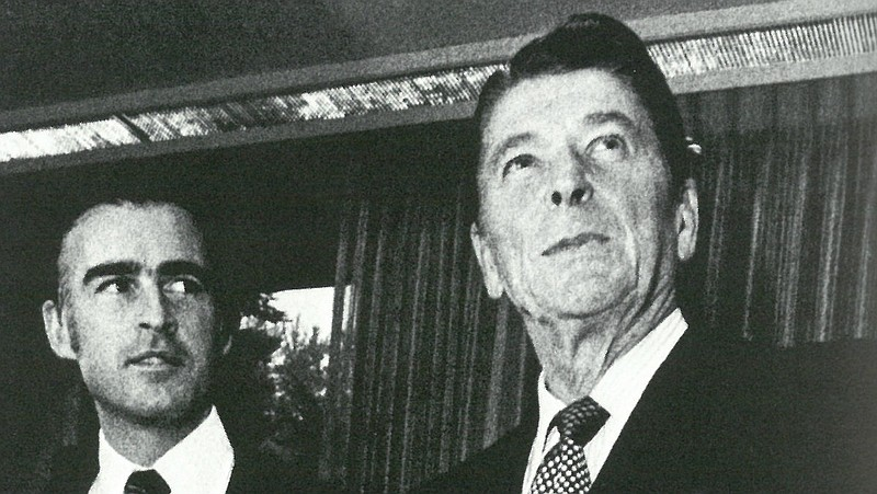 Gov. Jerry Brown poses for a picture with Ronald Reagan in this undated photo.