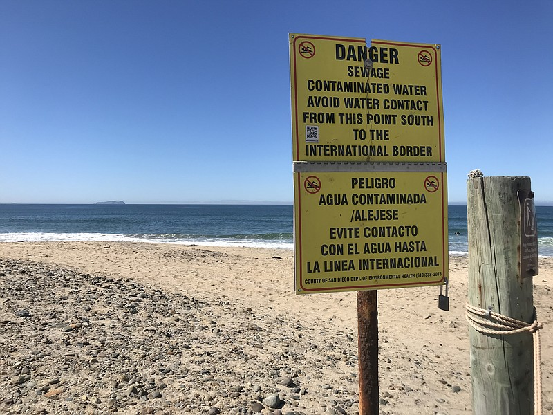A danger sign at Imperial Beach is shown in this photo, March. 2, 2018.