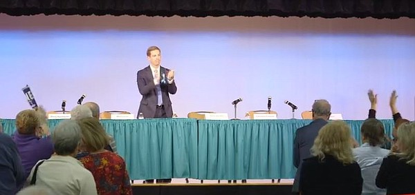 Democrat Mike Levin has the candidates table to himself a...