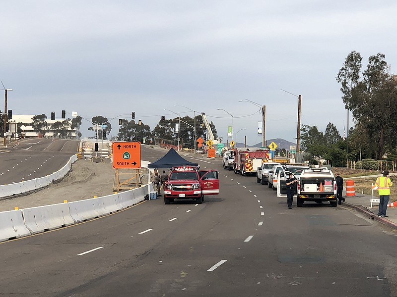 Firefighters and CHP officers on the scene of a gas leak in Mission Valley, M...