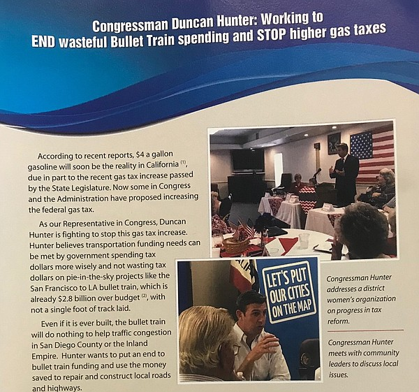 A piece of franked mail from Congressman Duncan Hunter, M...