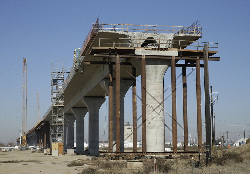 One of the elevated sections of the high-speed rail under construction in Fre...